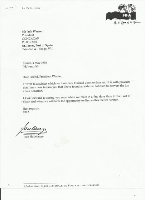 letter from Dr Havelange E