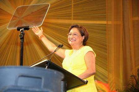 Prime Minster Kamla Persad Bissessar addressing the People's Partnership 3rd Anniversary Rally 24th May, 2013.