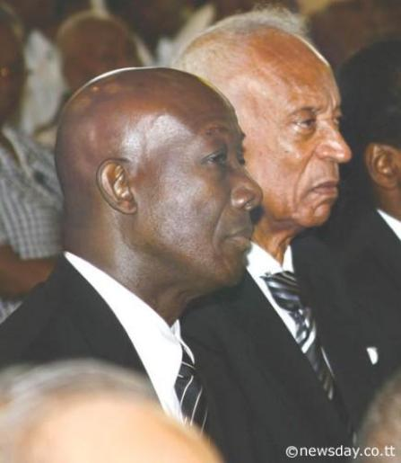 Flashback: Opposition Leader Dr Keith Rowley and Integrity Commission chairman Ken Gordon at a function in Port-of-Spain in 2011.