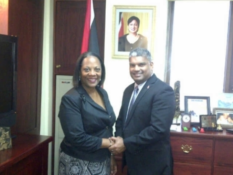 Attorney General Anand Ramlogan and Executive Director of the International Press Institute Alison Bethel McKenzie