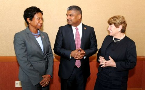 ABOVE: Attorney General Anand Ramlogan converses with US Ambassador to T&T, Beatrice Walters and Ambassador Susan Jacobs, Special Advisor on International Children's Issues.