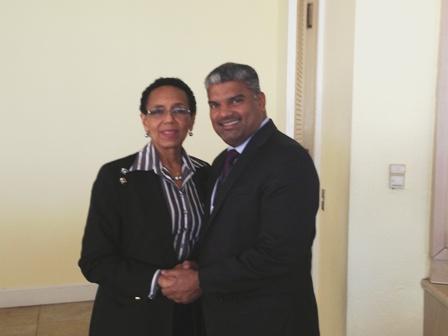AG Ramlogan is Warmly Greeted by Bahamas AG  Allison Maynard-Gibson,