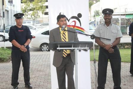 Minister Glen Ramadharsingh launches Street Dwellers Initiative 2013-2014 on the Brian Lara Promenade