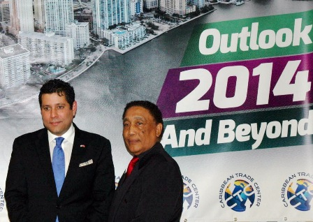 H.E. Dr. Neil Parsan (left) with Michael Mathews (right), President of the Caribbean Trade Center