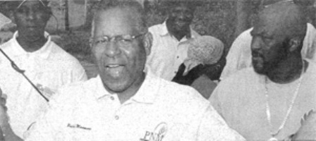 Former Prime Minister Patrick Manning and deceased gang leader Mark Guerra at a PNM political meeting, Couva. Photo Courtesy guardian.co.tt