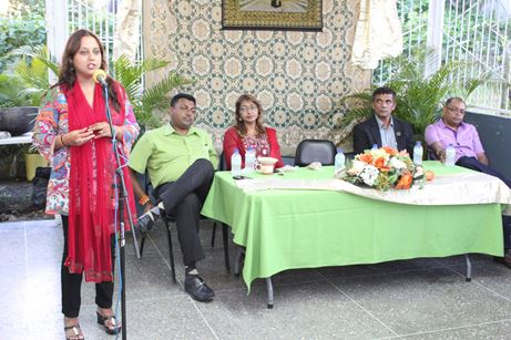 Couva North Member of Parliament, Ramona Ramdial addresses constituents at Eid Celebration. Head Table (L-R) Councillors Allan Seepersad, Sandra Abdool, Debideen Manick, Dubraj Persad