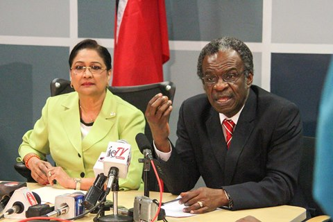 Prime Minister Kamla Persad-Bissessar SC, with THA Chief Secretary Orville London