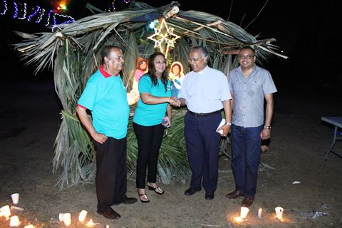 Couva North MP, Ramona Ramdial (2nd from left) shakes the hand of Reverend Daniel Teelucksingh after he blessed the Creche. Also in the picture are former Mayor of Chaguanas, Orlando Nagessar (left) and Councillor Dubraj Persad (right)