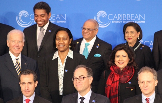 Trinidad and Tobago's Prime Minister, Kamla Persad-Bissessar SC, stands with other Caribbean leaders, alongside Vice President of the United States, Joe Biden, during the Caribbean Energy Security Summit, at the State Department in Washington DC