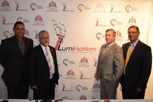From left: Mr. Michael Phillips former national athlete and social innovator; Senator Dr. the Honourable Bhoendradatt Tewarie, Minister of Planning and Sustainable Development; Mr. Richard Lewis, Chairman of the Council for Competitiveness and Innovation and Dr. Rikhi Permanand, Executive Director of the Council for Competitiveness and Innovation at the launch of the Lumination Programme on January 14.