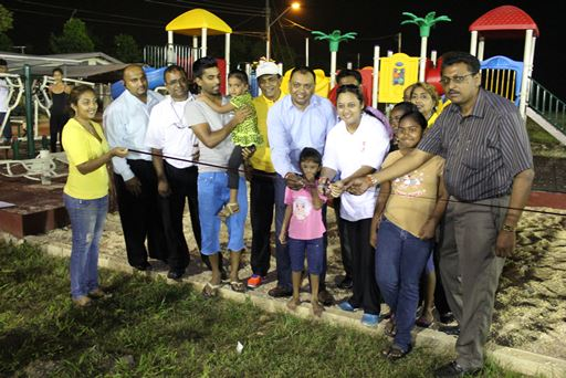 "BRICKFIELD residents welcomed the opening of the children's playpark and outdoor gym which were recently installed at the Brickfield Recreation Ground. Couva North MP, Ramona Ramdial hosted a ceremony on Tuesday to officially open the park which was constructed by the Ministry of Works and Infrastructure's (MOWI) Unemployment Relief Programme (URP) at a cost of $328,900. Ramdial thanked MOWI Minister Surujrattan Rambachan for the playpark and his continued support in the constituency. She said, ""The People's Partnership Government promotes fostering strong families and strong communities by providing the enabling environment through education, sports and community development."" ""Lights were installed on the Brickfield Ground in March 2014 and with this new playpark and gym, all members of the community from children to adults to the elderly would be able to participate in activities well into the night"", said Ramdial. She urged residents to take care of the playpark and not vandalize it, to be the watchdogs of their space and to ensure its sustainable use."