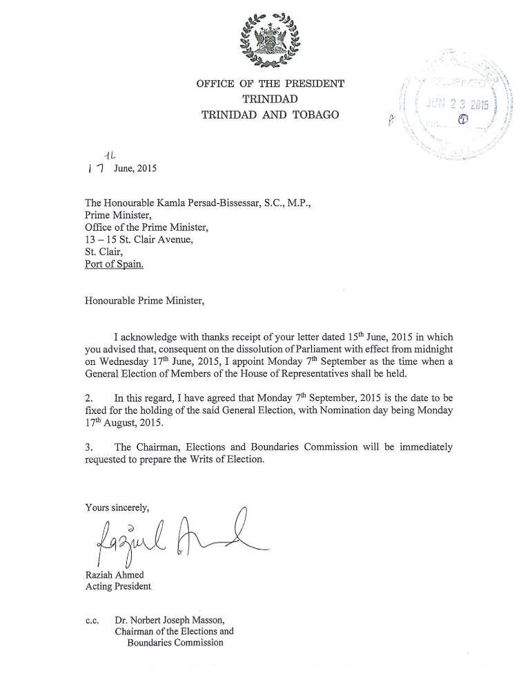 PRESIDENT Letter June 17, 15