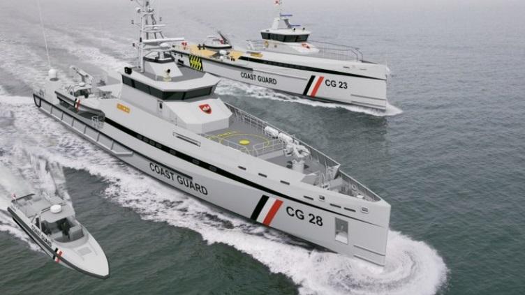 An artist's illustration of the Damen Stan Patrol 5009 coastal patrol vessel, Damen Fast Crew Supply 5009 utility vessel, and Damen Interceptor DI 1102 for the Trinidad and Tobago Coast Guard. Source: Damen Shipyards