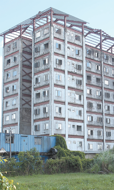 The unfinished HDC Edinburgh Towers apartment buildings in Chaguanas. Photo: ABRAHAM DIAZ Courtesy guardian.tt