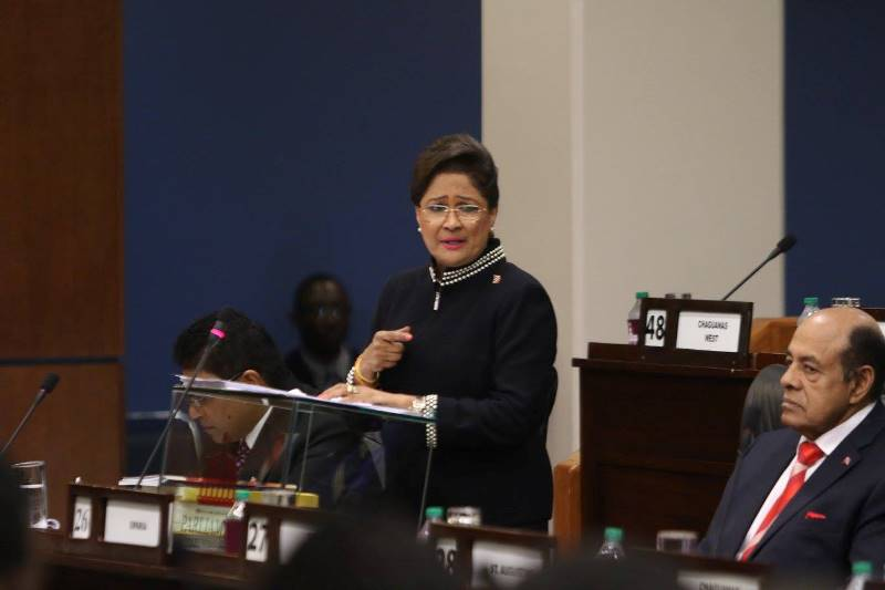 The Leader of the Opposition, Hon. Kamla Persad Bissessar  Photo Courtesy: Parliament of Trinidad and Tobago