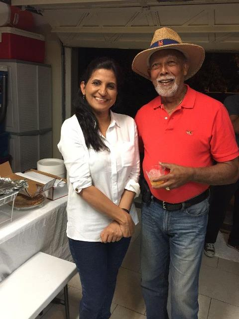 Mrs Gopeesingh with Kenneth Nandlal President of the Trinidad and Tobago Citizens Association of Palm Beach.